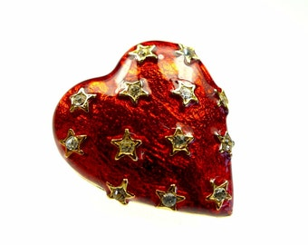 Enamel button, red heart with tiny rhinestones 1pc