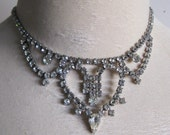 Princess Like 60s Rhinestone Necklace Vintage 1960s Silver Set Holiday Party Evening Choker