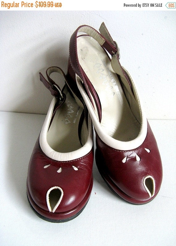 50OFF John FLUEVOG Vintage 90s Shoes Wingers Wine Two Tone 1990s Rockabilly Slingback Peep Toe Shoes Size 6