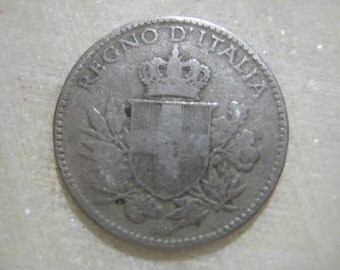 Italy 1919, 20 Centesimi Coin, Vittorio Emanuele III, Crowned Savoia Shield (#B)