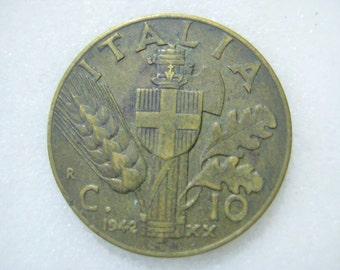 1932, Italy, Copper Coin, 10 Centesimi