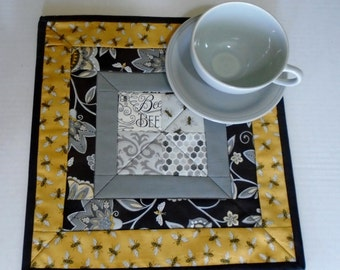 Quilted Mug Rug, Mug Mat, Mini Quilt, Quilted Coaster, Small Table Topper, Placemat, Bees and Flowers, Black Gold Grey