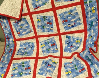 REDUCED Small Brightly Colored Little Boy's Quilt, Baby Quilt, Wall hanging, Bedding, Nursery, Child's Quilt, Crip Quilt