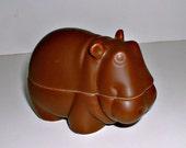 Vintage Hippopotamus with Lid Trinket Box Figurine Brown Hippo Japan by Nancy Lopez 1978 Ashtray