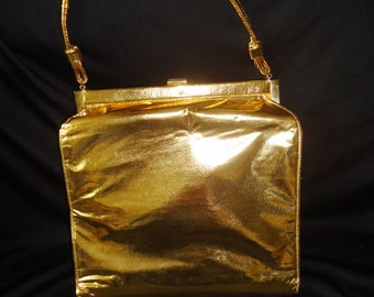 Metallic GOLD Vinyl Vintage 1950's Rockabilly Women's Handbag PURSE