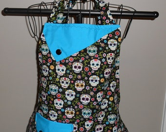 Sugar Skulls and Flowers Women's Apron