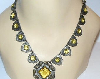 Vintage Art Deco Jewelry Faceted Citrine Glass with Brass 1930s Unique Necklace