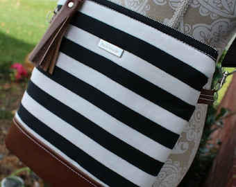 La Natalia Bag - Cross body bag - Classic bag - White and black bag - Leather Bag - Travel bag -