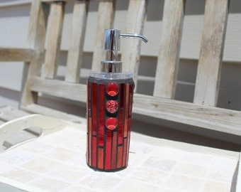 Fiery orange red art glass and red mirror mosaic soap/lotion dispenser, soap dispenser, lotion dispenser, mosaic dispenser, art glass mosaic