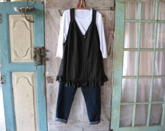 linen tunic jumper pinafore smock in black white pinstripe with vintage button ready to ship