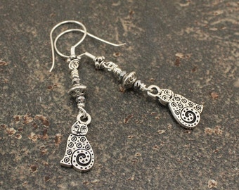 Whimsical Cat Jewelry Silver Cat Earrings