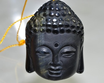 One 24x33x13mm SERENE~Mexican Black OBSIDIAN BUDDHA Frosted/Matte Hand-Carved 3D Pendant - J0981