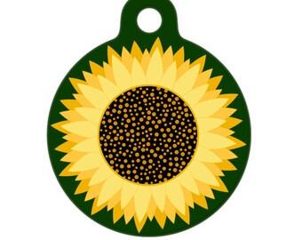 Pet ID Tag - Sunflower Pet Tag, Dog Tag, Cat Tag, Bag Tag, Child Id Tag