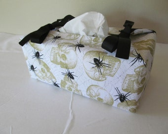 Tissue Box Cover/Halloween/Skull And Spider