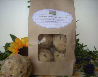 5 all natural re-milled Lavender & Oatmeal Vanilla soap balls made from my all natural bar soap