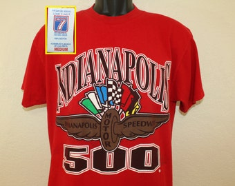 Indianapolis 500 vintage t-shirt red M/L 90s Indy 500 Logo 7 car racing race