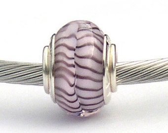 Murano Glass Charm Beads Pink & Purple Sterling Silver