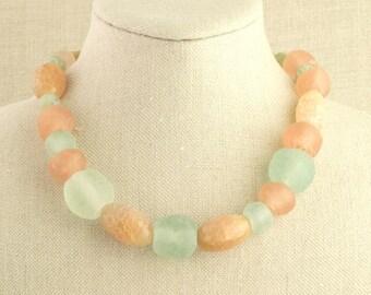 Agate Jade Necklace Recycled Ghana Glass Jasper Sea Mist Green Rose Sand