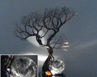 Wire Tree Of Life sculpture, Trio Wind Spirits, Full Moon Rising, Quartz Sphere lamp, Wedding, Anniversary gift, unique handmade gift, 11""