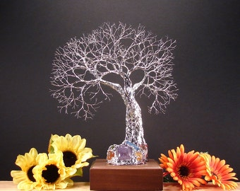 Wire Tree Of Life, Grand Old Tree Spirit sculpture, gemstone white LED lamp, metal Tree original art, Wedding present, Anniversary gift, 11""