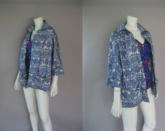 50s Rose Marie Reid Beach Cover Up - Rare 1950s Beach Jacket - Cotton Blue White Novelty Print - Resort Wear -  Size M to L - Summer Jacket