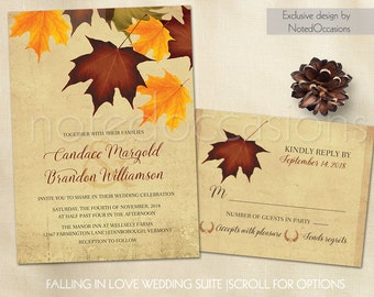 Printable Fall Wedding Invitations Set with RSVP Fall Wedding Invitation Sets With Leaves, Falling Leaves Wedding Invites Digital Template