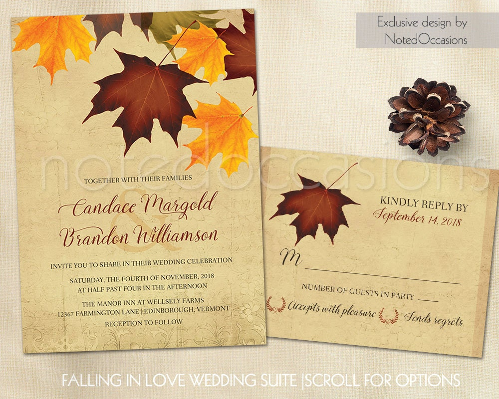 Printable fall wedding invitations set with rsvp by for Wedding invitations idaho falls