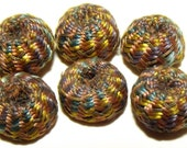 Antique Fabric Buttons Multi Color Wound Silk Diminutives