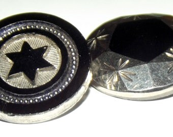Antique Buttons 2 Victorian Black glass w/ Silver Luster