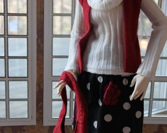SID/ Twigling BJD Red White and Black Rose set by EnModa
