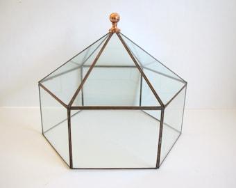 Vintage glass terrarium/ large scale copper trimmed terrarium/ six-sided glass accent/garden/large