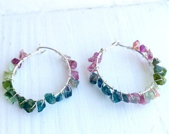 Tourmaline and Sterling Silver Hoop Earrings, Tourmaline Earrings, Sterling Silver Hoop Earrings, Hoop Earrings, Statement Earrings