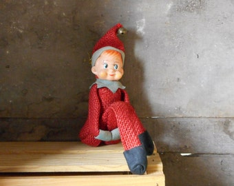 Vintage Inarco Pixie Red Burlap Knee Hugger Shelf Sitter Christmas Elf with Original Tags 1968 Collectible Holiday Home Decor Ornament