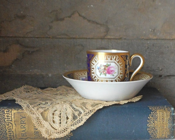 ... China R4996 1913 Cobalt Blue w Gold and Florals T Goode & Co England