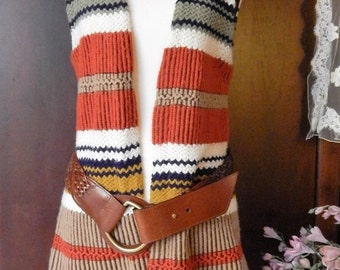 DISCOUNTED Vintage Hippie ~60s 70s ~Striped Sweater Vest~Tassel~Earthy Tones