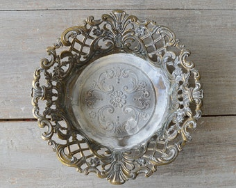 Vintage Gold Filigree Candy Dish - Italy