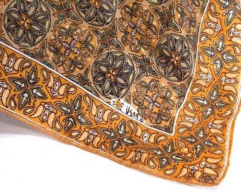 Vera Neumann Square Silk Scarf, Scarves, 100 Percent Silk, Hand Rolled Edges, Made in Japan, circa 1960s, Gold Green Black