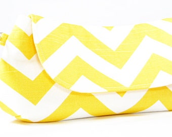 Clutch Bag Purse - Yellow White Chevron Fold Over Clutch, Summer Wedding Clutch, Bridesmaids Clutch
