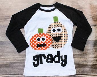 Jack-o-lantern Hallowen Shirt Applique Shirt - Personalized Shirt with Pumpkin Appliques -  You Choose Shirt Color and Sleeve Length