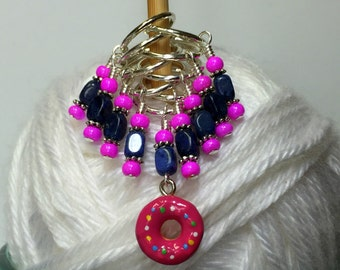 Doughnut Stitch Marker Charm Set, Snag Free Knitting Markers, Gift for Knitters- Food Charm