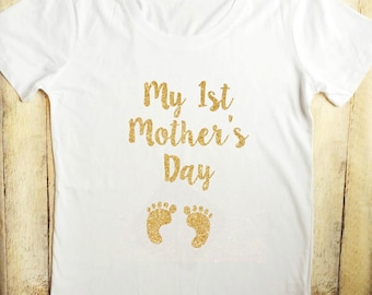 My 1st Mothers Day white gold glitter tee
