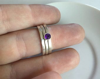 Faceted Amethyst Stacking Square Sterling Silver Rings, Size 6-6.5