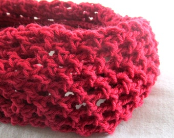 Red Crocheted Unisex One Size Fits Most Cowl