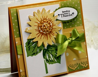 "Thank You Handmade Card Greeting Card 5.25 x 5.25"" Stampin Up Sending Many Thanks Sunflower Flower Gratitude Stationery 3D Card - OOAK"