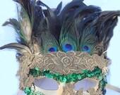 Peacock Golden Lace Victorian MASK Samba Costume Mardi Gras Carnival  MASK