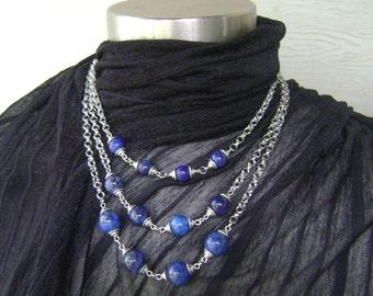 Lapis Lazuli Stone Beaded Tri-Layered Silver Chain Necklace