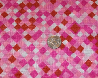 """Vintage Psychedelic Bright 1960s Hot Pink Linen Dress Fabric Yardage 42 1/2"""" Wide x 102"""" Geometric Design"""