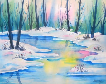 Snow Stream Watercolor, Trees Colorado,  Landscape Painting, Martha Kisling