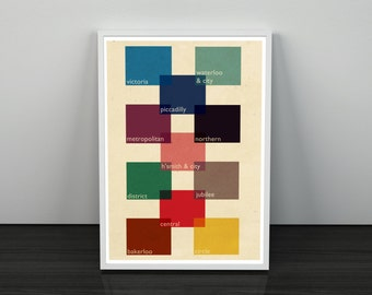 London Tube Line Colour Guide Retro Style Typography Wall Art Poster