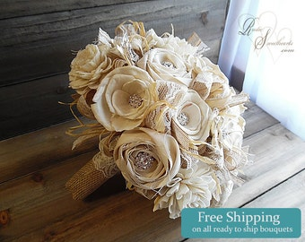 Ready to Ship ~~~ Rustic Shabby Chic Bridal Bouquet Large, Sola Flowers, Ivory Cotton Roses, Burlap, Lace, Rhinestones